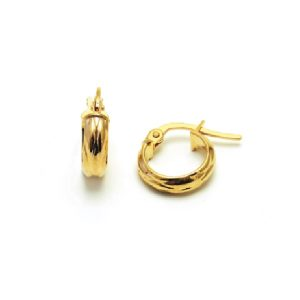 9CT YELLOW GOLD HOOP EARRING WITH TEXTURE-WEIGHT-0.57GR