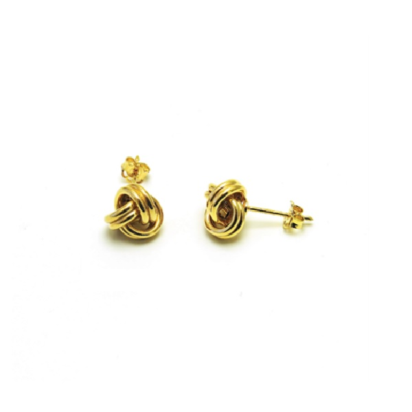 9CT YELLOW GOLD LOVE KNOT STUD EARRINGS-WEIGHT-1.40GR