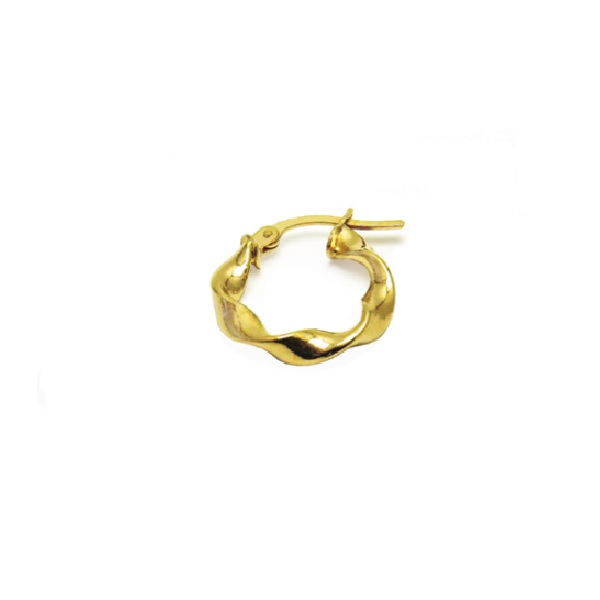 9CT YELLOW GOLD TEXTURED HOOP EARRINGS-WEIGHT-0.77GR