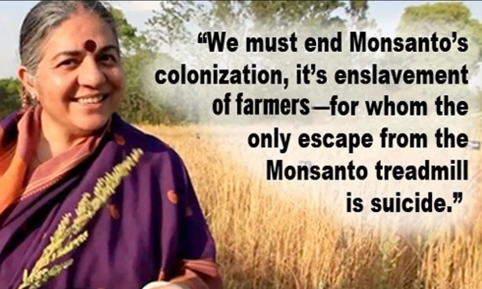Vandana Shiva accuses multinational corporations such as Monsanto of attempting to impose food totalitarianism on the world.